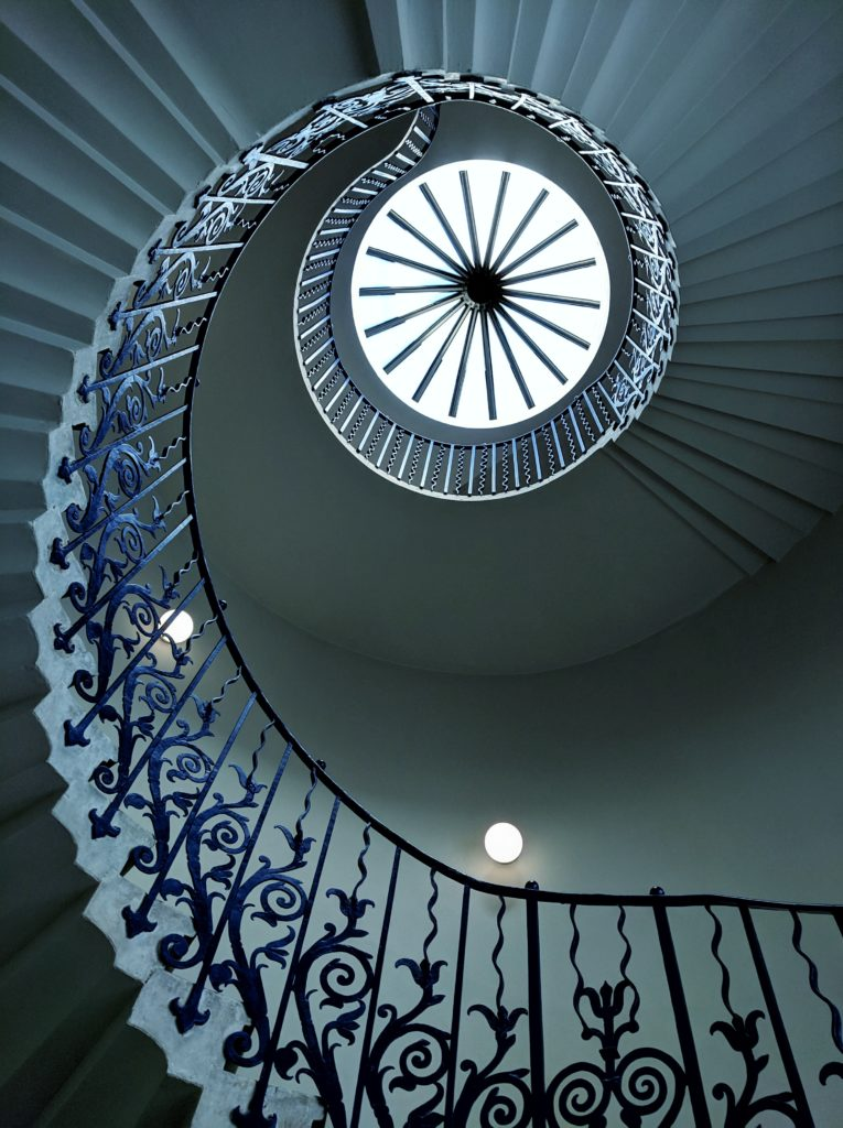 Looking up at the Tulip staircase at Queen's House, Greenwich.